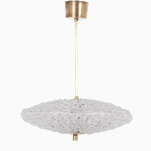 Mid-Century Swedish Brass Ceiling Lamp by Carl Fagerlund for Orrefors