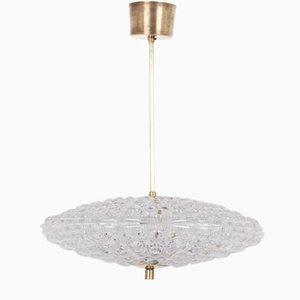 Schwedische Mid-Century Messing Deckenlampe von Carl Fagerlund für Orrefors