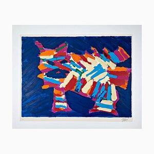 Lithographie Couleur Karel Appel, 20ème Siècle, Chat Bleu