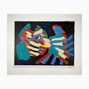 Karel Appel, 20th Century, Color Lithograph, Fighting Cat