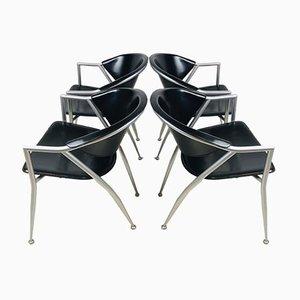 Chaises de Salon Vintage en Cuir Noir et Gris de Calligaris, Italie, Set de 4