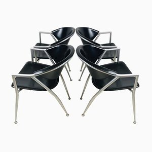Vintage Italian Black & Gray Leather Dining Chairs from Calligaris, Set of 4