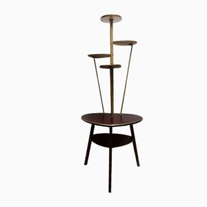 Stapelbarer Buche, Formica & Messing Tisch, 1960er