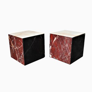 Tables Cube à Roulettes Multicolores en Marbre, Italie, 1980s, Set de 2