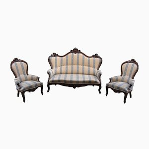 Louis Philippe Style Sofa & Armchairs, 1960s, Set of 3