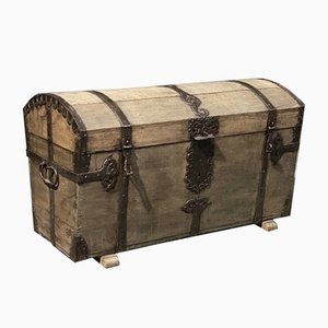 French Oak Trunk with Dome Top, 1800s