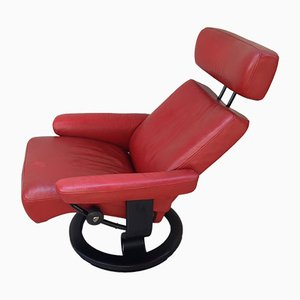 Vintage Scandinavian Style Rad Leather Lounge Chair from Ekornes