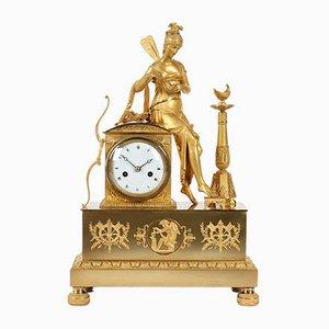 Antike Französische Uhr aus Bronze im Empire Stil, 1820