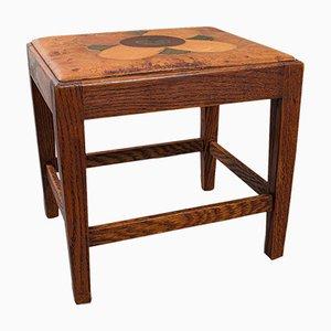 Antique English Arts & Crafts Oak & Leather Footstool, Circa 1910