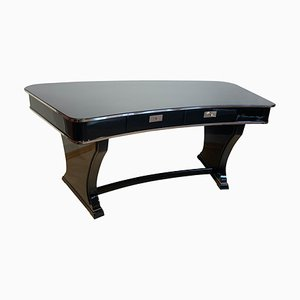 Art Deco French Black Lacquer Kidney-Shaped Desk