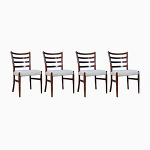 Mid-Century Danish Rosewood & Wool Dining Chairs by Johannes Andersen, Set of 4
