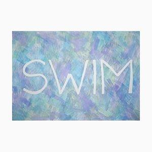 Ryan Rivadeneyra, Swim, Sommerfrisches Gemälde auf Papier, Typografie in Lila, 2021