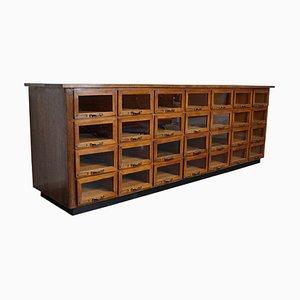 Large Vintage Dutch Oak Haberdashery Shop Cabinet, 1930s