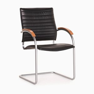 Thonet S 74 Black Leather Cantilever Chair