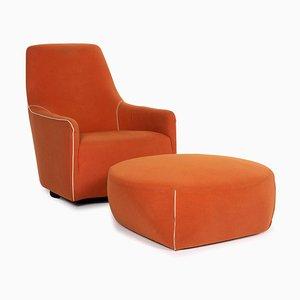 Orange Fabric Armchair and Stool by Minotti Portofino, Set of 2