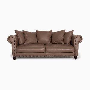 Chester Chic Roche Bobois Brown Leather Sofa