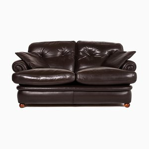 Poltrona Frau Dark Brown Leather Sofa
