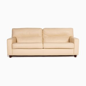 Poltrona Frau Cream Leather Sofa