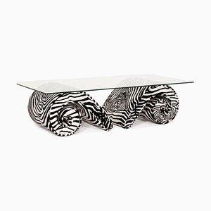 Couchtisch aus Glas & Samt mit Zebramuster von Bretz