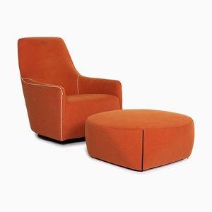 Portofino Leather Armchair from Minotti with Orange Stool, Set of 2