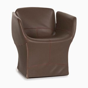Bloomy Moroso Dark Brown Leather Armchair by Patricia Urquiola