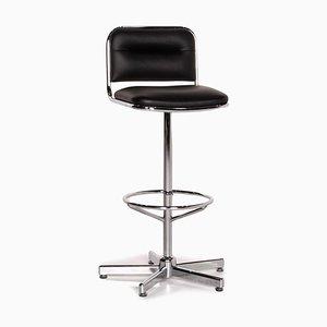 Thonet Leder Barhocker mit schwarzem Stuhl aus Metall