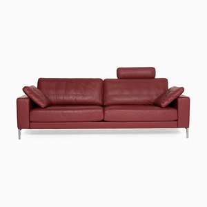 Ego Red Wine Leather Sofa by Rolf Benz
