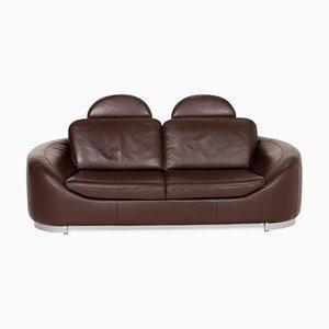 Dark Brown Leather Sofa by Ewald Schillig