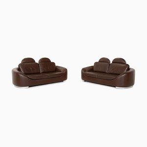 Dark Brown Leather Sofa Set by Ewald Schillig, Set of 2
