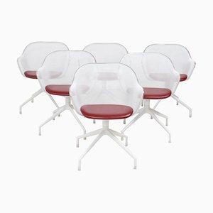Luta Drehsessel aus weißem & rotem Leder von Antonio Citterio für B & B Italia, 6er Set
