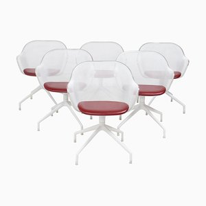 Luta White & Red Leather Swivel Chairs by Antonio Citterio for B&B Italia, Set of 6