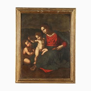 Madonna With Child and St. John, Oil on Canvas