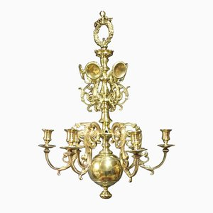 Antique Brass Church Chandelier, 1850s
