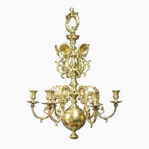 Lámpara de araña antigua de iglesia de latón, década de 1850