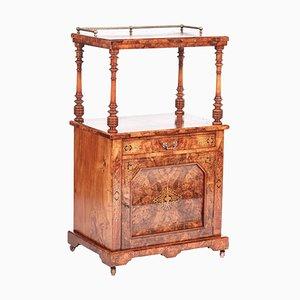 Antikes viktorianisches Regal aus Nussholz mit Intarsien aus Nussholz, 19. Jh