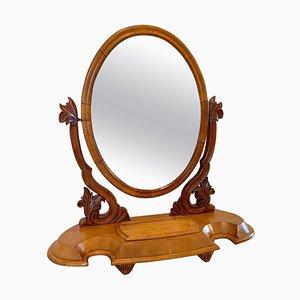 Antiker viktorianischer geschwungener Spiegel aus geschnitztem Birkenholz, 19. Jh