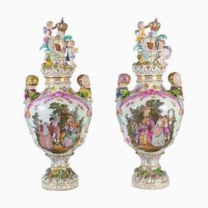 Large Dresden Vases, Set of 2