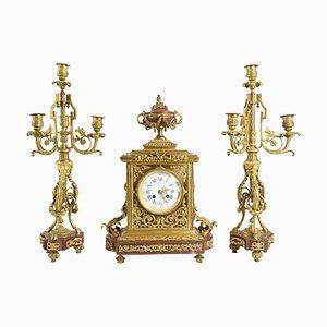 4-light Candelabra and Pendulum Clock, 19th Century, Set of 3