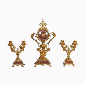 Vergoldete Kaminsimsfigur aus Bronze im Napoleon III Stil, 3er Set