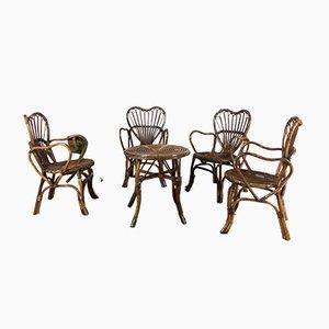 Stühle und Bambus Couchtisch, Italien, 1970er, 5er Set