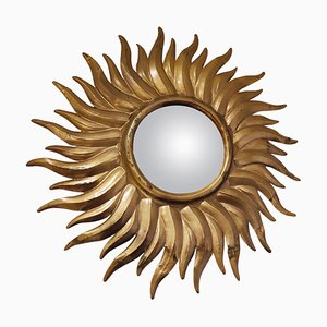 Vintage Gilt Metal Sunburst Mirror, 1960s