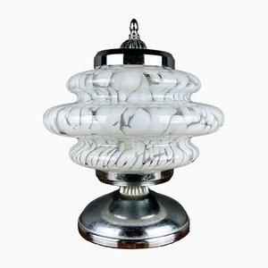 Lampada da tavolo Mid-Century a fungo in vetro di Murano bianco di Mazzega
