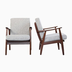 Mid-Century Danish Easy Chairs in Solid Teak and Fabric, 1960s, Set of 2