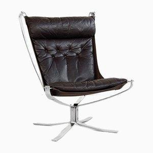 Falcon Chair aus Chrom & Leder von Sigurd Ressell für Vatne Möbler, 1970er