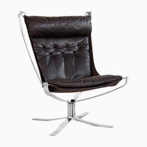 Falcon Chair in Chrome and Leather by Sigurd Ressell for Vatne Möbler, 1970s