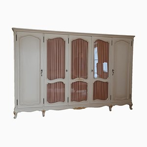 Antique Ivory Colored Wooden Bedroom Closet with Curtain