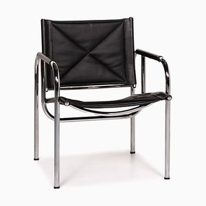 Eichenberger 127-1C-11 Black Leather Chair from Strässle