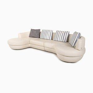 Natuzzi White Leather Corner Sofa