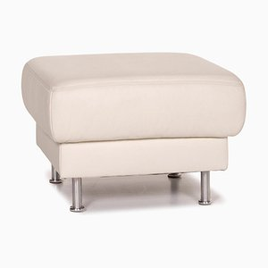 Musterring White Leather Ottoman