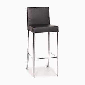 Anthracite Gray Leather Bar Stool by Walter Knoll